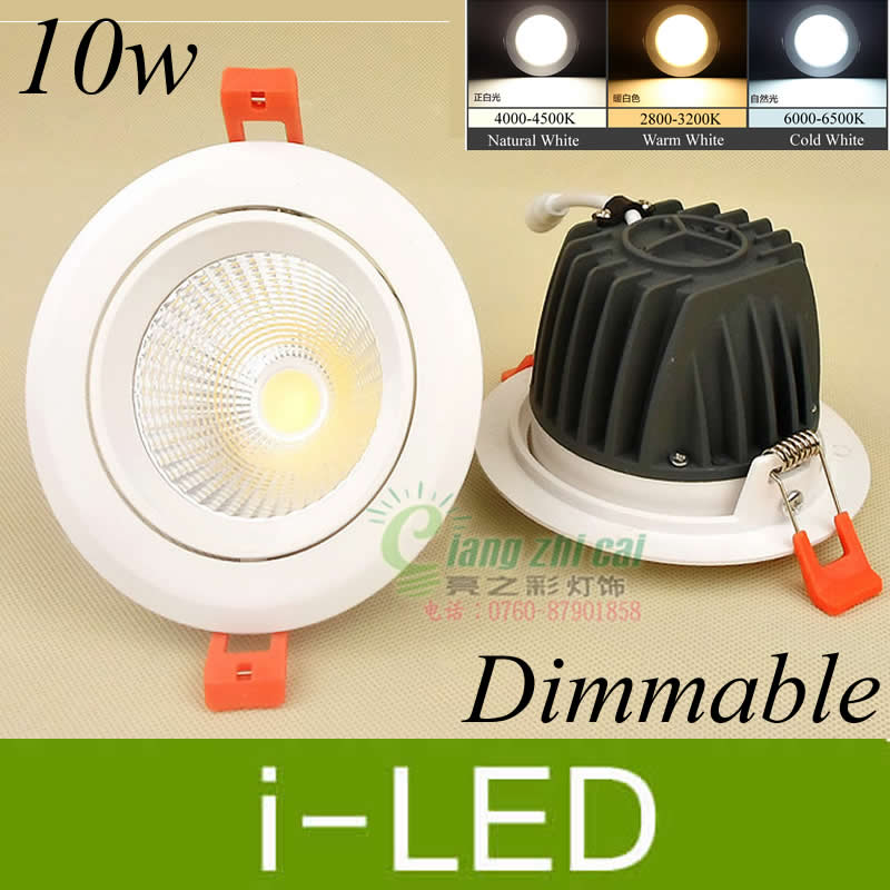 Led Lighting Promotion 10w Cob Led Downlight Dimmable Led Fixture Down Spot Light Lamp Ac85-265v 12v Warm/natual White 800lm 3 Year Warranty Attractive Designs;