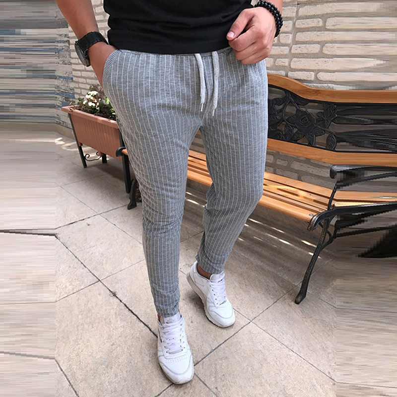 Harjuku Striped Pencil Pants Mens Casual Drawstring Trousers Male High Street Fashion Breathable All-match Trousers