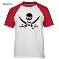 Pirates Of The Caribbean Tops Pirate Flag Skull Tops T Shirt Men Raglan Sleeve Cotton T