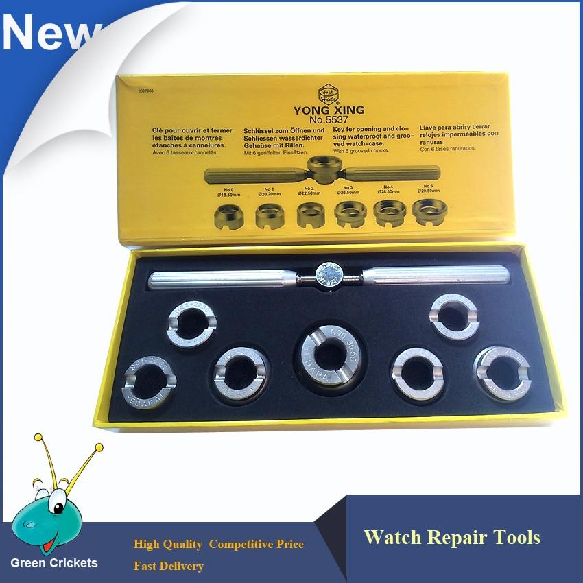 Набор инструментов для ремонта часов No.5537, 18,5 мм, 20,2 мм, 22,5 мм, 26,5 мм, 28,3 мм, 29,5 мм и 36,5 мм, 7 размеров, ключ для открывания задней крышки часов