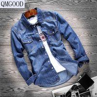 QMGOOD erkek Denim Gömlek Yeni Gömlekler Erkek Gömlek 100% pamuk Uzun Kollu Erkek Jean Gömlek Klasik Moda Rahat Gömlek Tops