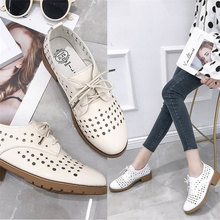 2019 Spring Fashion Shoe Women Lace-up Non-Leather Flat Shoes Breathable Round Toe PU Leather Women Shoes zapatos de mujer