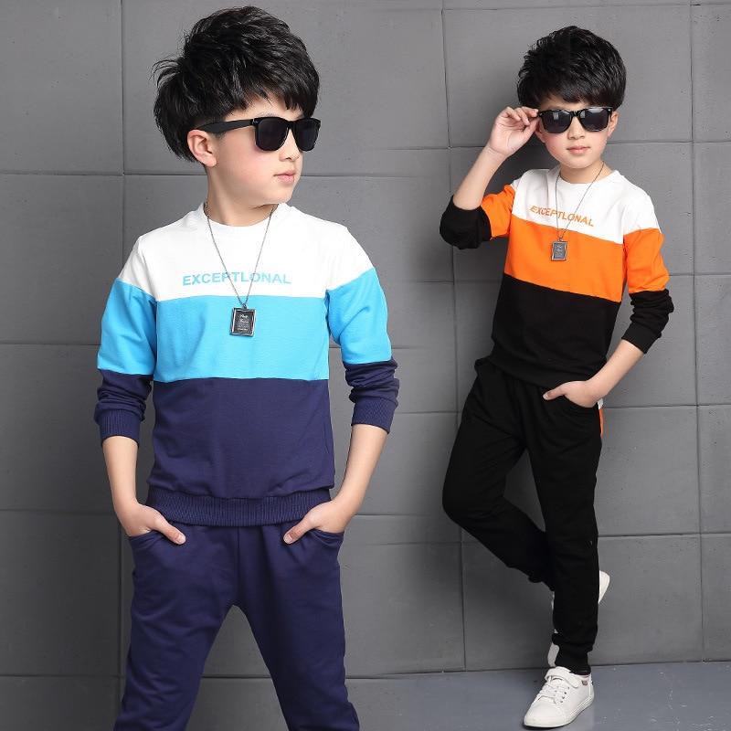 2017 Spring New Baby Boy Clothes Sets Cotton Long Sleeve T Shirt + Pants 2 Pcs Tracksuit Sport Children Clothing Sets 3-16 Years  new brand 2pcs ofcs baby boy sets cotton spring