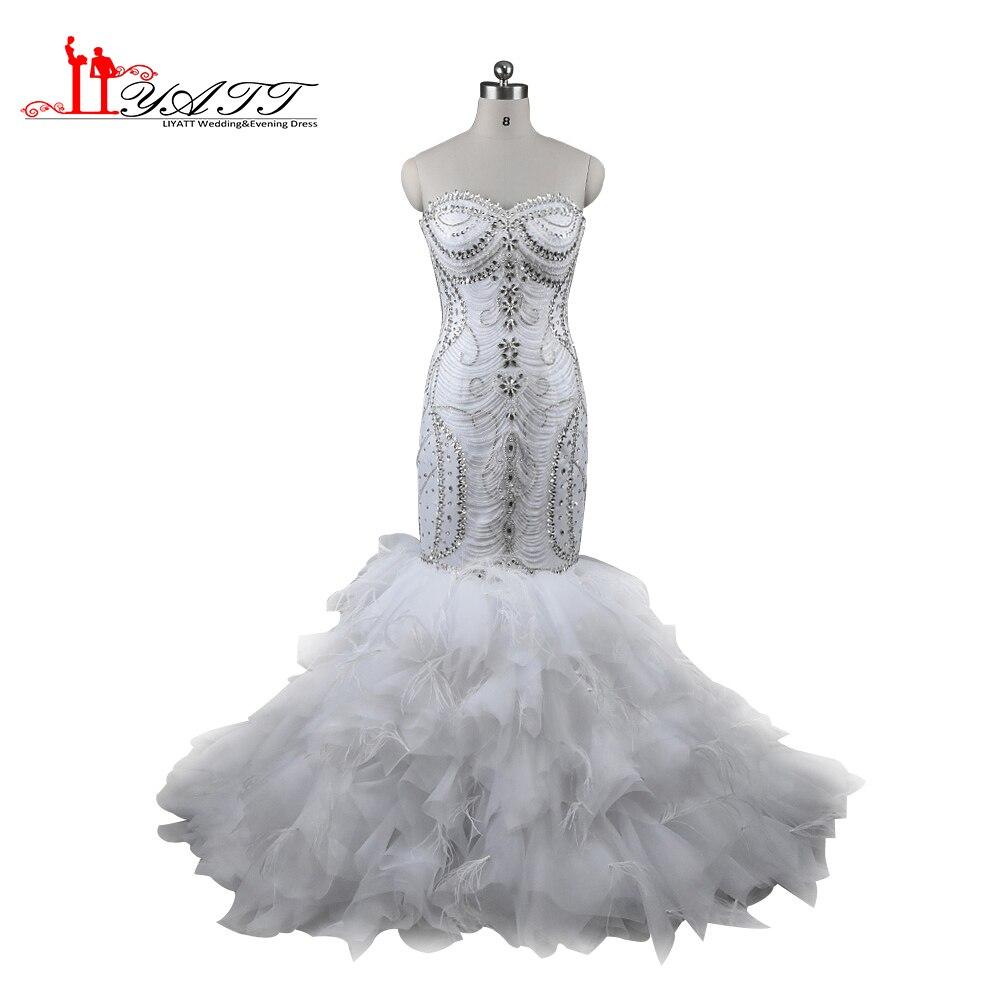 Liyatt Luxurious Crystals Mermaid font b Wedding b font Dresses 2017 Expensive font b bridal b