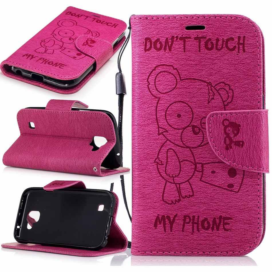 Bear Frame Leather Flip Cases For Huawei P8 Lite 2017 P9 P10 Y3 Y6 II Y5 2017 Book Fundas Card Slot Wallet Capa Solid Color P07Z