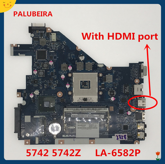 PALUBEIRA PEW71 LA 6582P MBR4L02001 MB. R4L02.001 5742Z laptop motherboard Principal board para acer aspire 5742 MBRJW02001 HM55|Placa-mãe para notebook|   -