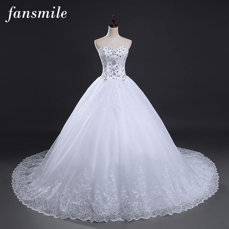 Fansmile luxury crystal rhinestone lace up long train ball for Plus size bling wedding dresses