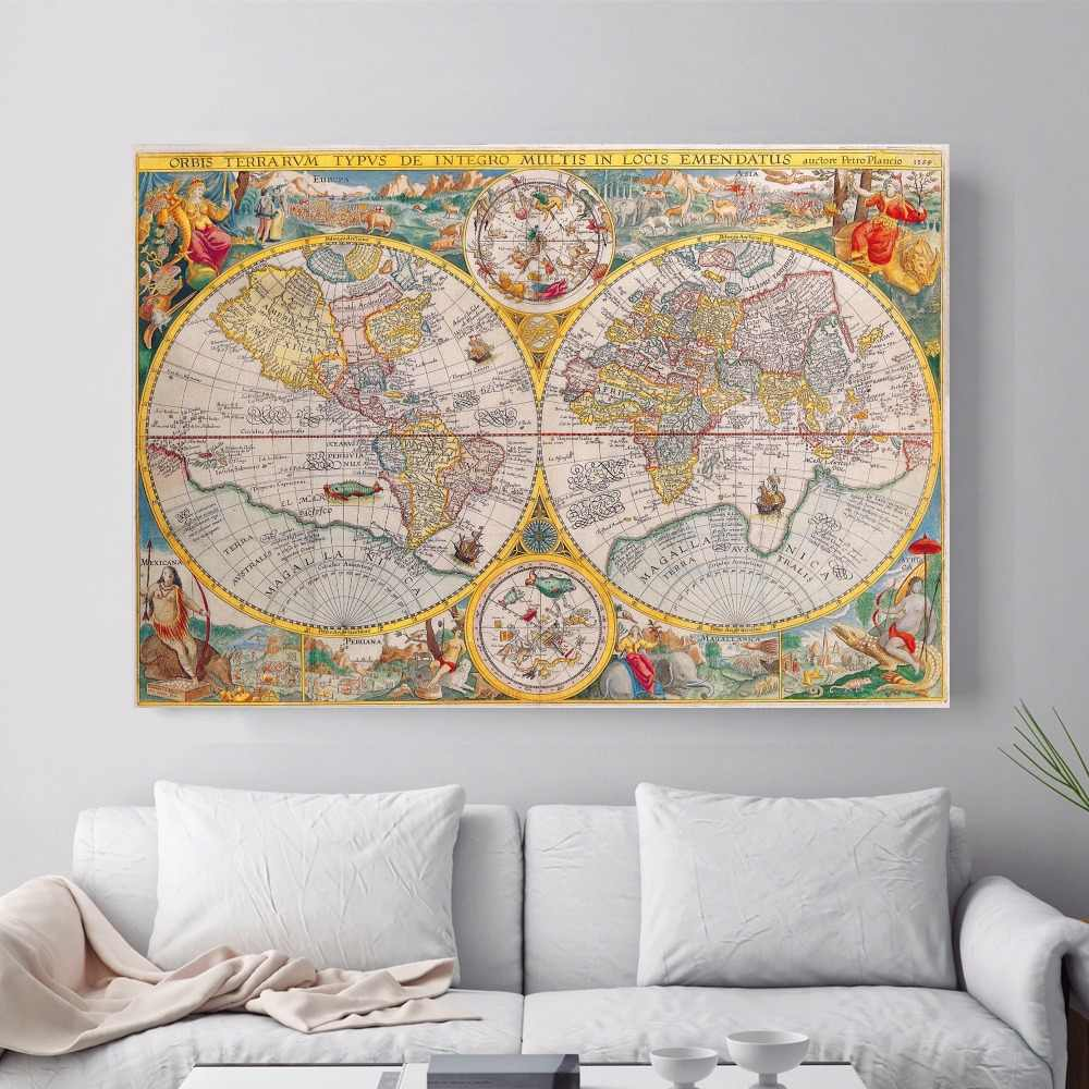 Old World Map Artwork Canvas Art Print Painting Poster Wall Pictures For Living Room Home Decorative Bedroom Decor No Frame