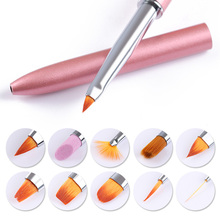 10 In 1 Replaceable Head Nail Art Brushes Set Liner Drawing UV Gel Gradient Painting Brush Pen Cuticle Pusher Manicure Tool Kit