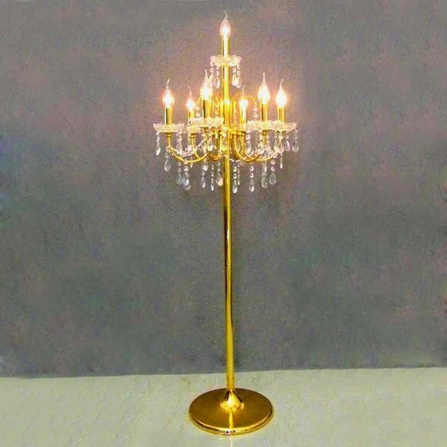 Led Gold Tall Table Lamp For Wedding Candlestick 5 7 Heads Floor Light Crystal
