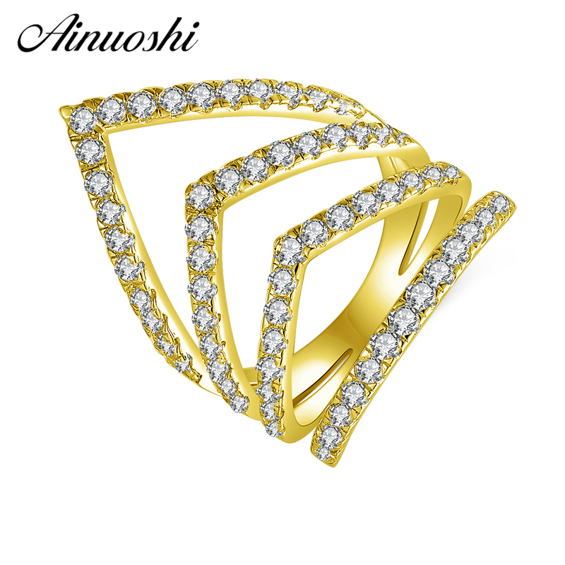 AINUOSHI 10K Solid Yellow Gold V-Shaped Cluster Band Row Finger Ring V Chevron Ring Wedding Engagement Jewelry for Women Men solid au750 gold ring band lady s little finger ring cute ring
