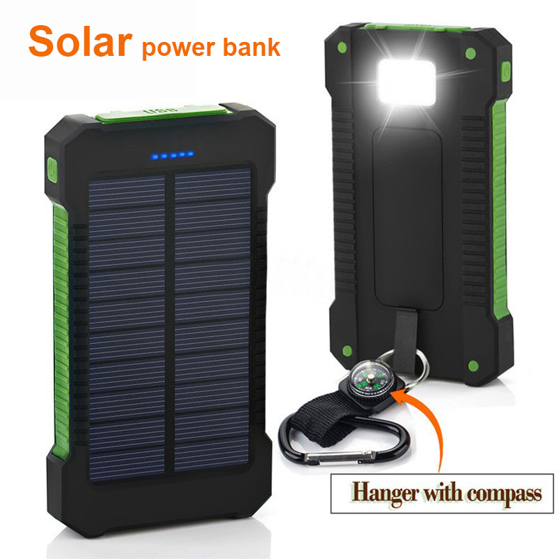 Waterproof Solar Bank Dual Usb Outdoor Travel 20000mah External Battery Pack Portable Charger Led Light Comp For Phone In From Phones
