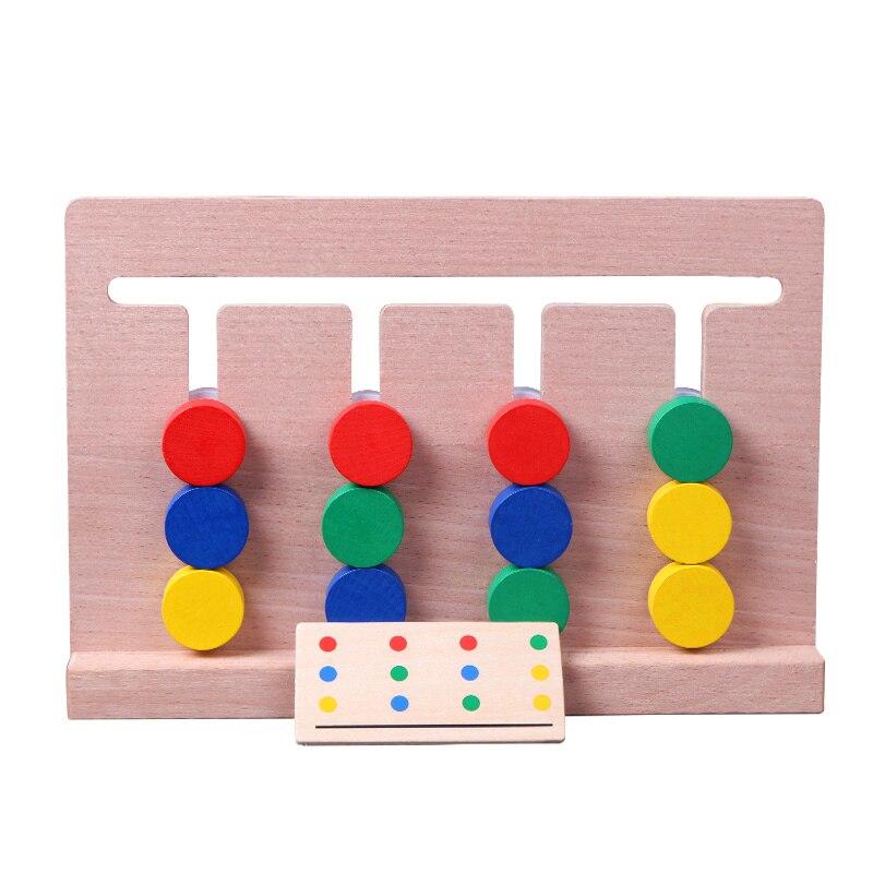 Montessori en bois quatre couleurs correspondant garçons filles jeu formation enfants début jouets éducatifs bébé enfants jouets d'apprentissage