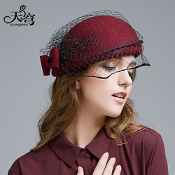 New England Fashion Beret Hat Lady Wool Bow Fedoras Cap Lady Fashion Outside Travel Cap Students Leisure Veil Party Cap B-7894
