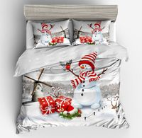 3d Cartoon fashion Christmas Bedding set White Red Quilt Cover Snowman windmill gift Print Bed The bird Christmas pillow case