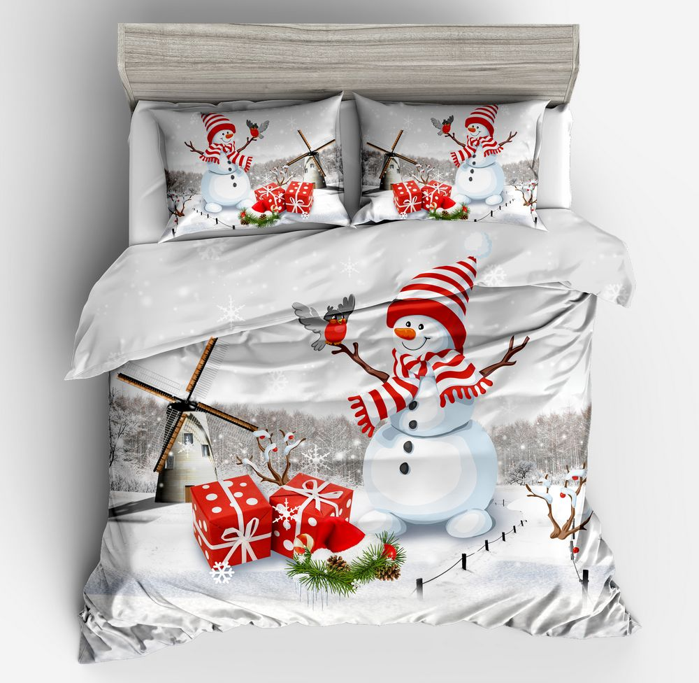 3d Cartoon mode noël literie ensemble blanc rouge housse de couette bonhomme de neige moulin à vent cadeau imprimé lit l'oiseau noël taie d'oreiller