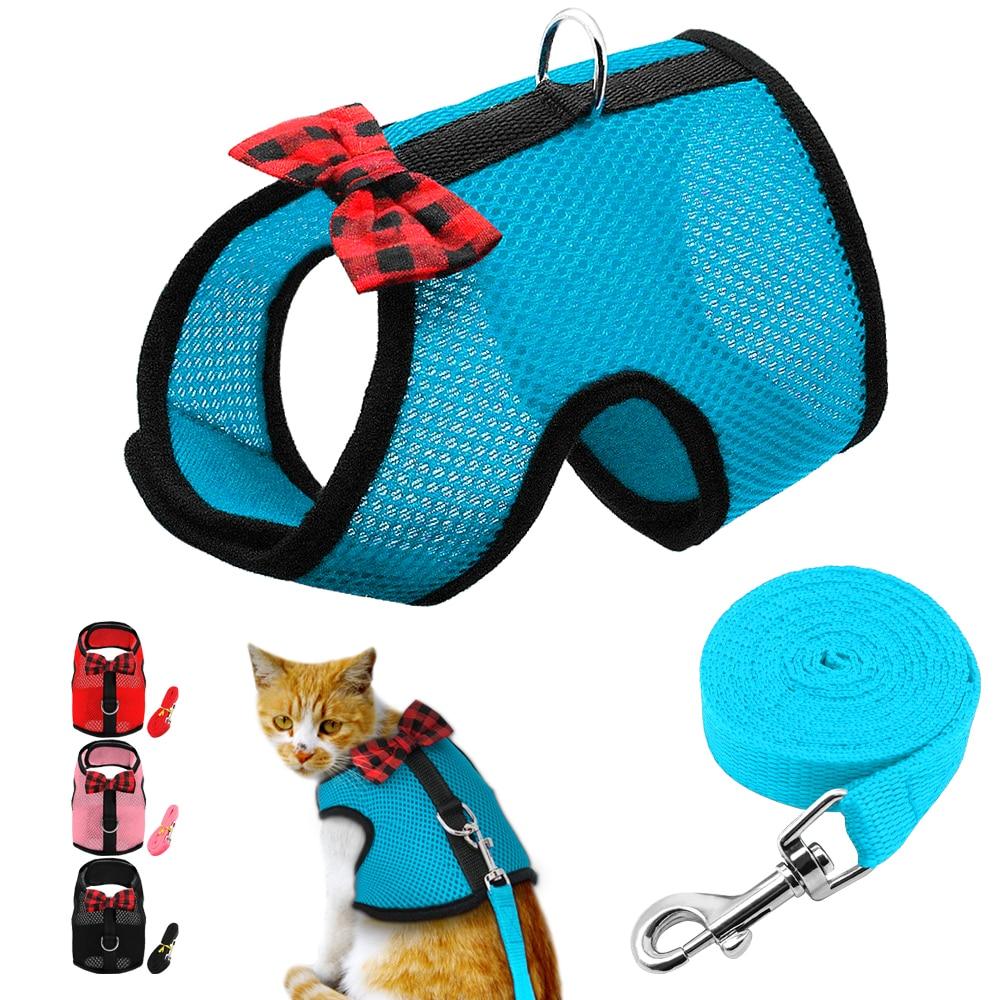 Deftig Mesh Cat Harness En Leash Set Strik Kat Vest Jas Comfy Hamster Konijnen Pet Wandelen Harness Escape Proof
