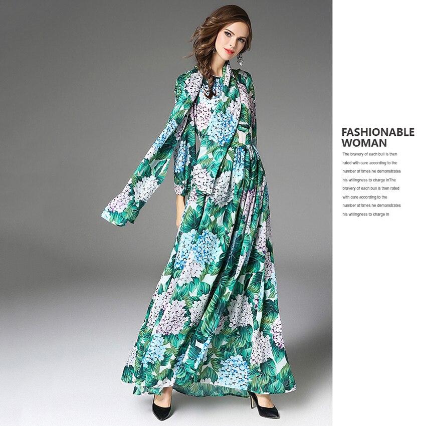 151e10cf27ac Verde Dress Progettista 2019 Floreale Spiaggia Del Casual Festa Lunghi Da  Nuovo Modo Primavera Delle Boemia ...