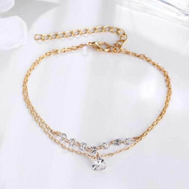 bee1103dc2d0 € 0.27 9% de DESCUENTO|De moda doble capa corazón pulsera de cristal de  joyería de las mujeres de la joyería de la boda regalo de San Valentín ...