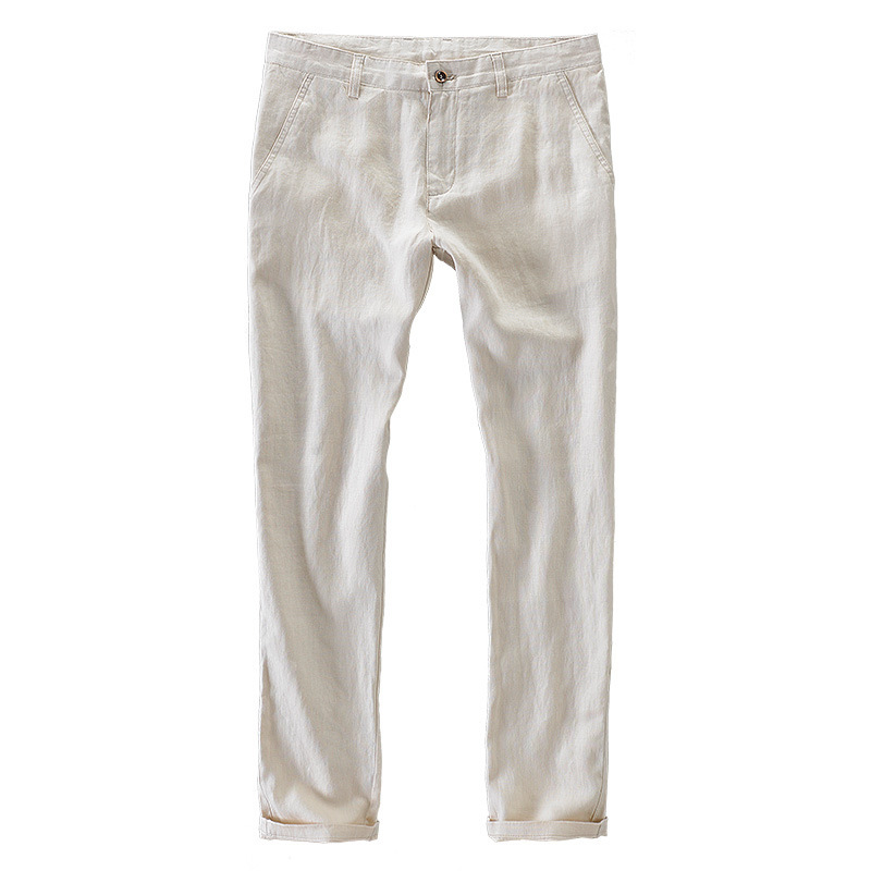 2018 Summer 100% Linen Thin White Breathable Pants Casual Trousers Man Straight