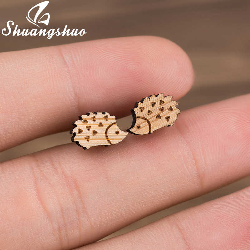 Shuangshuo Hedgehog Women Earrings Female Animal Wood Earrings Accessories Trending Jewelry Studs for Girls Birthday Gifts
