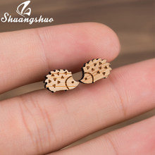 Shuangshuo Hedgehog Women Earrings Female Animal Wood Earrings Bts Accessories Trending Jewelry Studs for Girls Birthday Gifts(China)