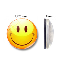 1pc Glass Round Cute Smile Emoji Face Expressions Refrigerator Sticker Fridge Magnet Message Holder Christmas Accessories 27 sheets 1300 style cut emoji sticker smile for notebook message high vinyl funny creative free shipping