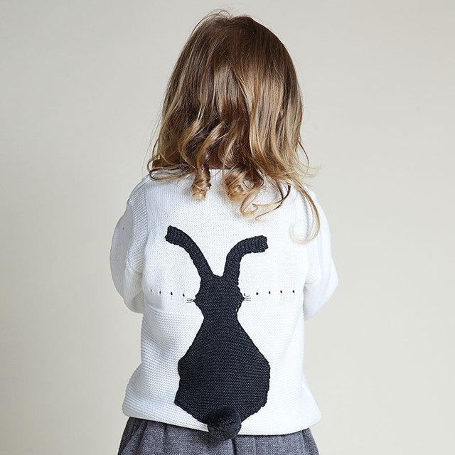 Nuevo 2016 del otoño del resorte lindo chicas de moda suéteres de Los Niños de punto conejo niños bebés niñas niños suéteres ropa para 1-5 años niños