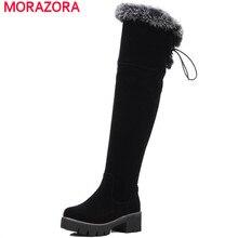 MORAZORAแพลตฟอร์มรองเท้าผู้หญิงฤดูหนาวเข่าสูงบู๊ทส์รองเท้าส้นสูงตารางซิปแข็งvilliขนาดใหญ่ขนาด34-43เซ็กซี่อบอุ่น