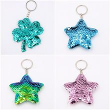 15*8cm Petal Unicorn Cat Keychain Glitter Pompom Sequins Key Chain Gifts for Women Llaveros Mujer Car Bag Accessories Key Ring(China)