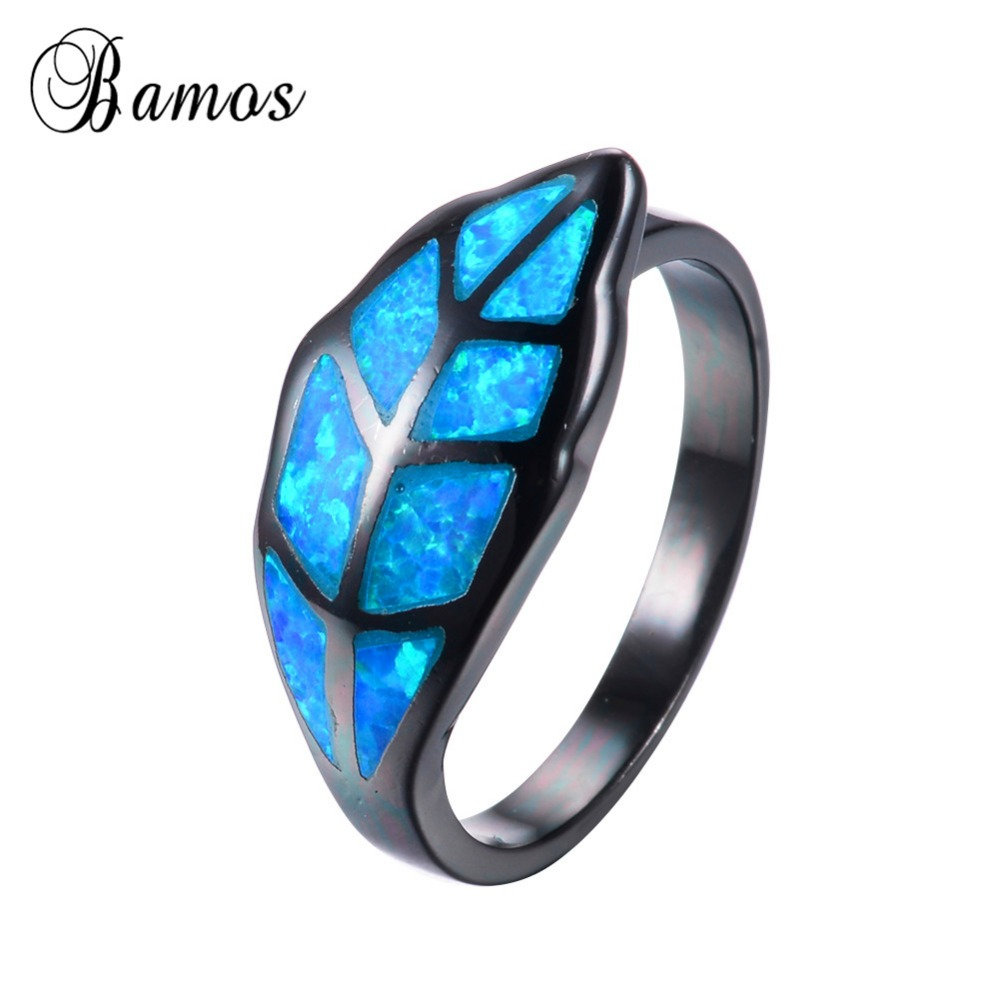 Unique Leaf Style Women Men Ocean Blue Fire Opal Rings Black Gold Filled  Wedding Party Engagement Ring Love Jewelry Rb0840