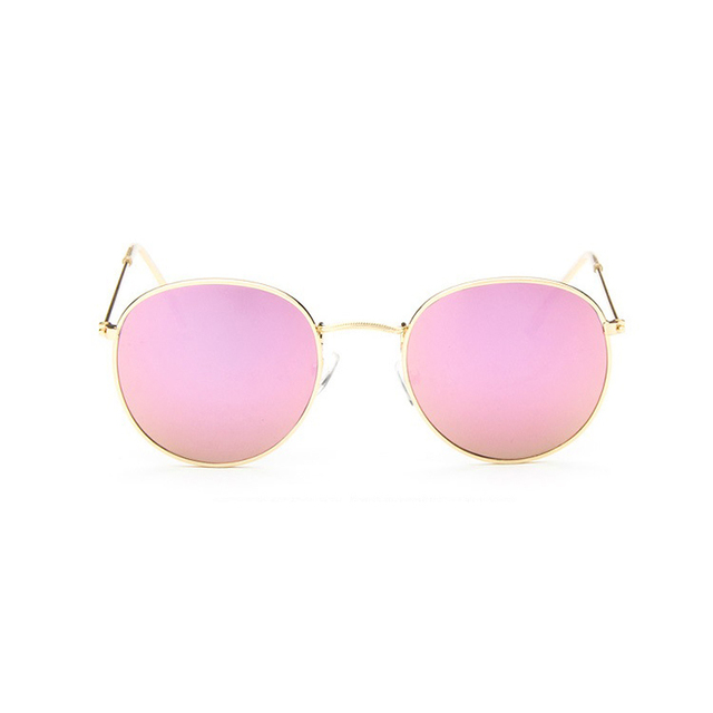 Retro Round Sunglasses Women Men Brand Designer Alloy Mirror
