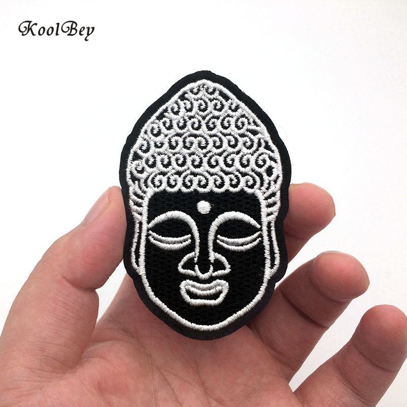 100pcs lot Buddha Head Iron On Patch Embroidery Sewing DIY Customise Denim Cotton Hippy Hindu Buddhist
