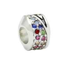 Multicolor crystal heart love metal alloy beads charm bracelet Fit Pandora Bracelet