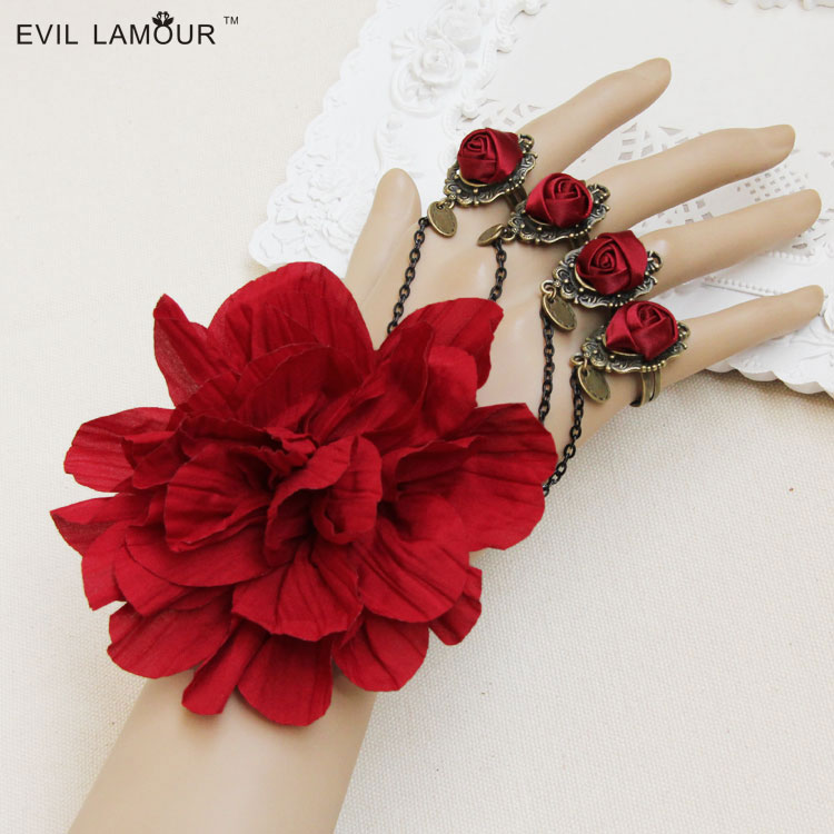 Princess Lolita Red rose bride accessories bracelet with ring one piece chain female jewelry bridesmaid dress accessories пандора браслет с шармами