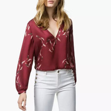 Nice Nice Spring Autumn Women Blouses Feather Printed Shirt Women Shirt European Style Long Sleeve V-Neck Tops  Blouses  MA8181