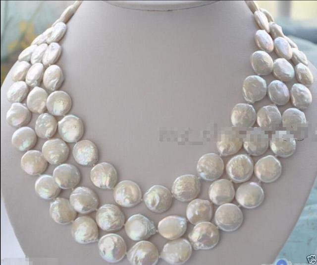 FRETE GRÁTIS >>>>> >>>@@> venda Hot new Style Handmade Longo 11-12 MM Branco Natural Rodada de Água Doce Da Moeda Colar de pérolas de 48''