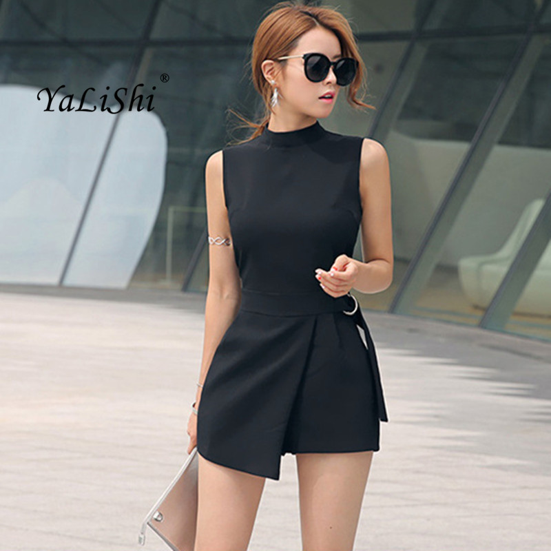 2018 Summer Plus Size Solid Playsuit Women Black Sleeveless Casual Office Playsuits Shorts Vintage Elegant Asymmetrical   Jumpsuit