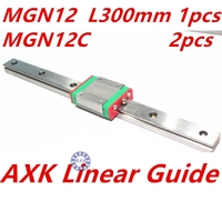 1pc 12mm Width 300mm MGN12 Linear Guide Rail 2pc MGN MGN12C Blocks Carriage CNC