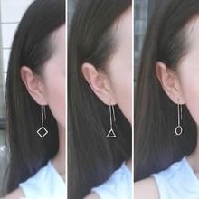 купить New Geometric Shaped Women Long Earrings Circle Square Triangle Lady 925 Silver Drop Earrings for Party Gift Jewelry Accessories по цене 161.03 рублей