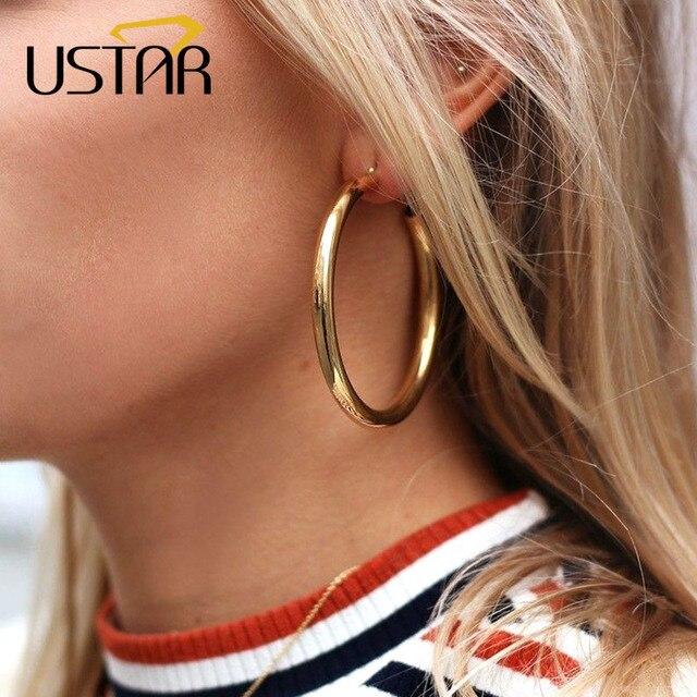 USTAR שמירה עגולה עגילי חישוק לנשים 2018 מודרני תכשיטים עגילי זהב צבע גיאומטרי תליית oorbellen מתנות