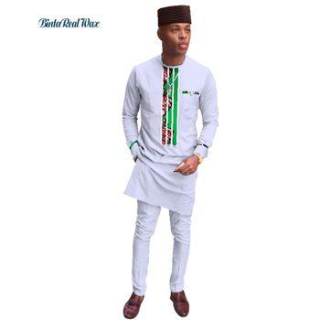 Neue Männer Kleidung Lange Top und Hosen Sets Afrikanischen Wachs Druck 2 stücke Hosen Sets für Männer Traditionellen Afrikanischen Stil kleidung WY3279