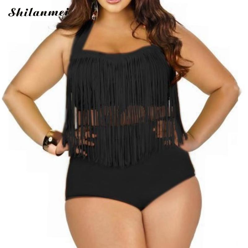 L-3XL bikini de Mujer plus tamaño grande traje de baño borla mujeres de cintura alta traje de baño alto traje de baño retro playa baño