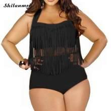 6680dbb27cd2e L-3XL bikini set female plus large size swimsuit Women Tassel High Waist  Bikini Push Up Swimwear tall Swimsuit retro beach bath