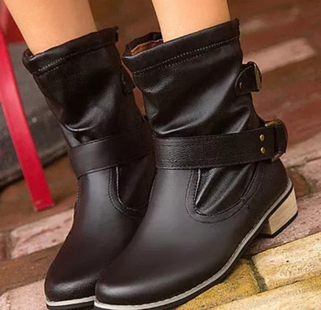 Motorcycle superstar buckle boots women shoes 2018 fashion classic pu leather winter women boots ladies shoes 1