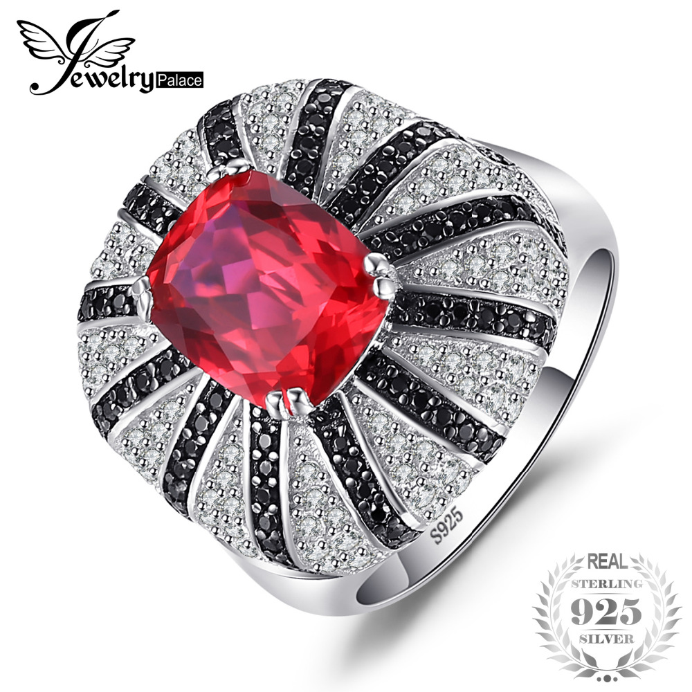 Jewelrypalace Luxury 3.9ct Created Red Rubies Natural Black Spinels Cocktail Ring Solid 925 Sterling Silver Ring Women Jewelry
