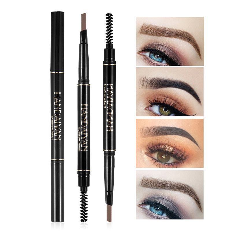 HANDAIYAN 5 Color Long Lasting Double Ended Eyebrow Pencil Waterproof No Blooming Rotatable Triangle Eye Brow Pen TSLM2