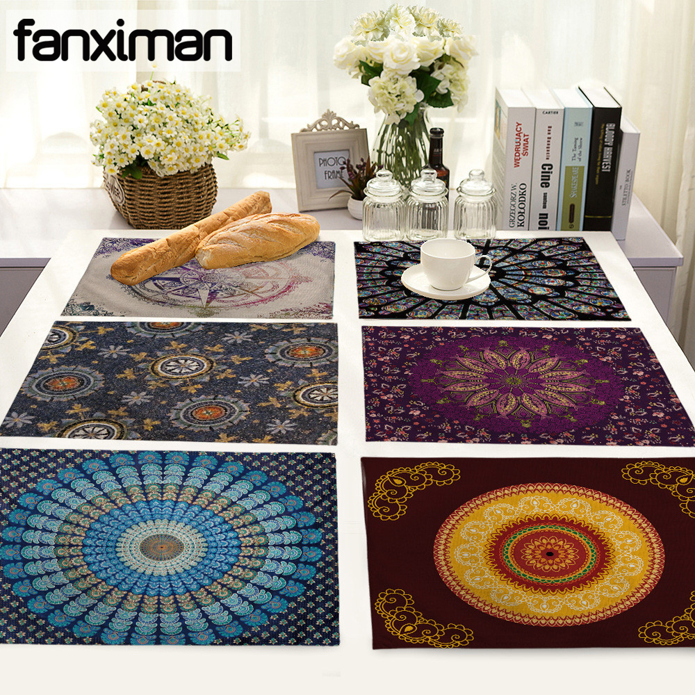 Mandalas Pattern Linen Table Placemats Dining Napkins Cotton Linen Home Accessories Kitchen Pad Coffee Tea Place Mats