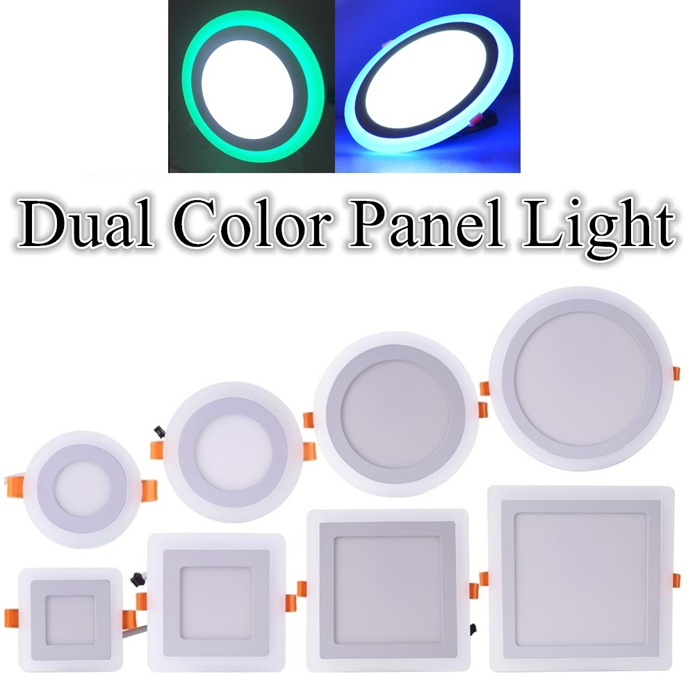 Round / Square LED Panel Light Dual Color Red Green Blue Pink & White 6W 9W 16W 24W Ultra Slim Recessed LED Ceiling Lights mlsled mls xd32 16w 16w 1100lm 160 smd 3014 led white ceiling light white 100 240v