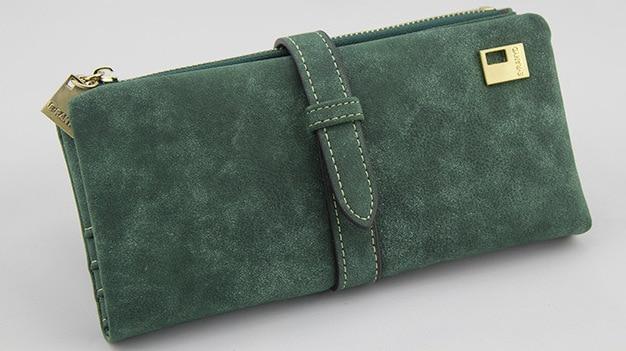 Известный бренд, Длинный кошелек, два сложения, женские кошельки, на завязках, нубук, кожа, на молнии, замшевый кошелек, дамская сумочка, клатч - Цвет: Green